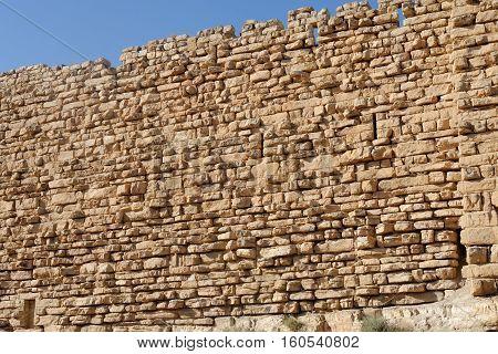 Ancient wall of medieval Kerak castle in Jordan
