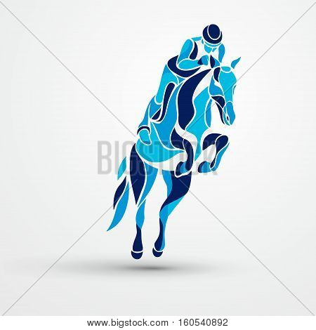 Horse race. Equestrian sport. Silhouette of racing horse with jockey on isolated background. Rider. Racing horse and jockey blue silhouette. Derby. Eps 10
