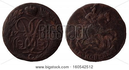 Old russian coin 2 kopecks 1757 horseman slaying the dragon with a spear dark brown copper both sides isolated