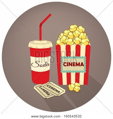 Popcorn, soda takeaway and movie tickets. Vector illustration in retro style on a dark background. Cinema Concept Design.