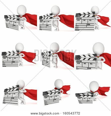 Brave superhero with cinema clapperboard. 3D render isolated on white. Filmmaking and video production.