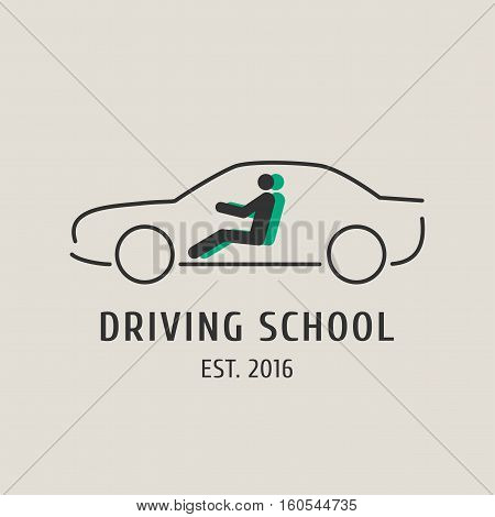 Driving school vector logo sign symbol emblem. Car silhouette design element concept illustration for driving lessons obtain company