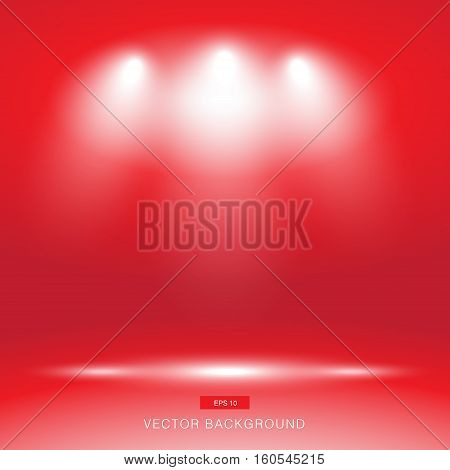 Empty red gallery wall with lights effect for images and advertisement vector