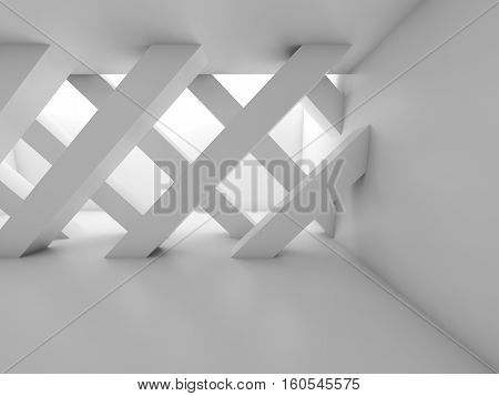 Diagonal Girders, Blank White Interior 3D