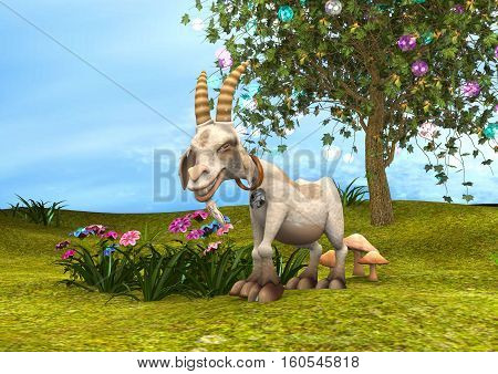 3D rendering of a happy goat on a fantasy garden background