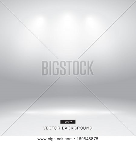 Empty white gallery wall with lights effect for images and advertisement vector