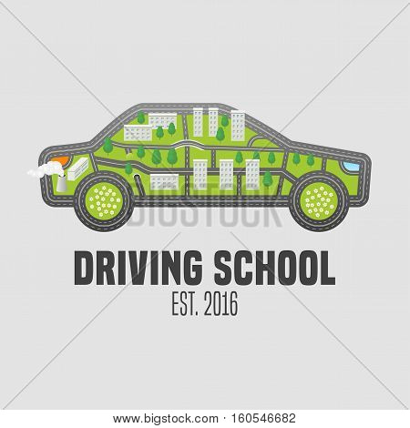 Driving license school vector logo sign emblem. Car with road map symbols graphic design element. Driving lessons concept illustration