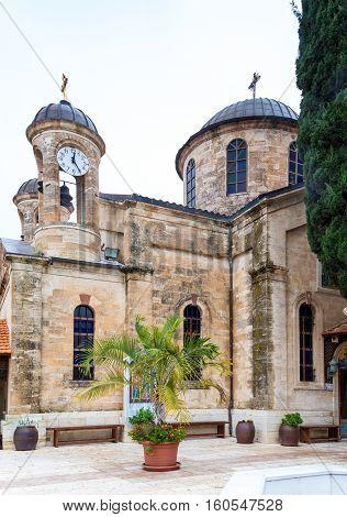 The Cana Greek Orthodox Wedding Church in Cana of Galilee Kfar Kana in winter cloudy day Israel.