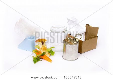 Diversified and separate harvest on white background