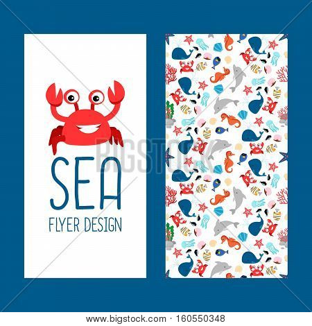 Sea life vertical flyer design with cute pattern. Vector illustration