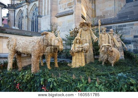 Straw Nativity Scene At St. Vitus Cathedral In Prague