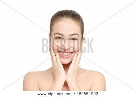 happy girl with clean skin smiling isolated on white background