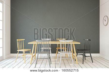 Interior of dining-room interior in scandinavic style. 3d render.