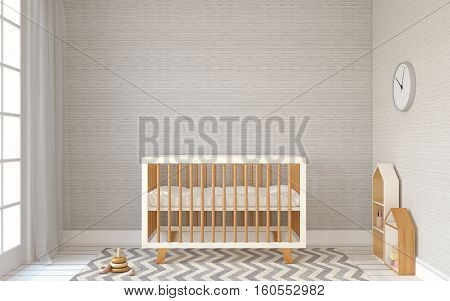 Interior of nursery with crib in scandinavic style. 3d render.