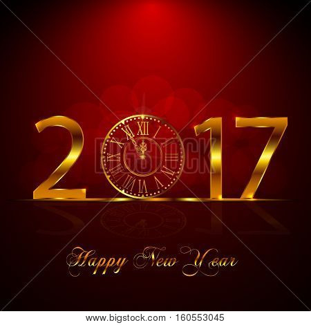 Happy New Year 2017. Vector Illustration With Gold Clock