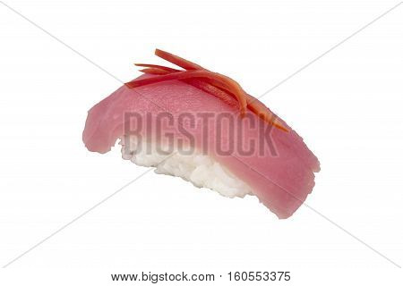 Close Up Of Tuna Sushi On White Background.