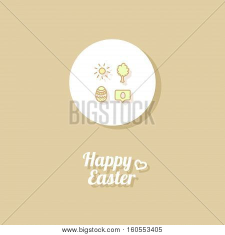 Happy Easter. Greeting card or banner template with hand drawn egg icon, the Sun, tree and greeting message. Golgen background