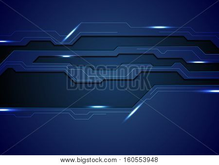 Abstract dark blue concept tech background. Glowing light vector template design