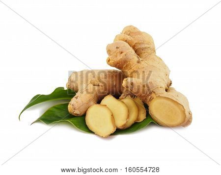 Ginger root slice with leaf and has a spicy taste isolated on white background