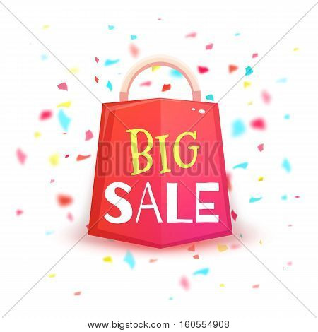 Big sale banner with red packet and confetti. Vector illustration.