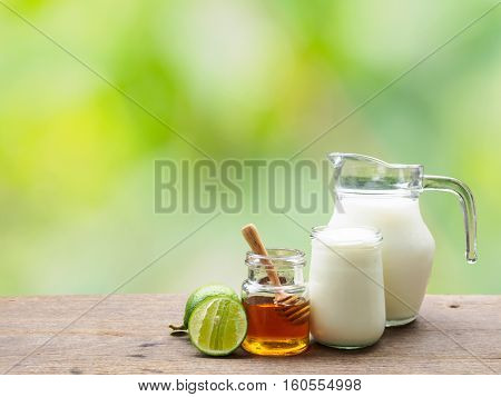 Milk lime honey and yogurt ingredient for detox colon drinking in the morning with copy space