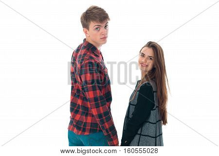 close up portrait of cute stylish couple in love having fun in studio isolated on white background