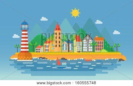 Small city urban landscape illustration. Cartoon cityscape on the mountains background near ocean sea beach. Harbor port village