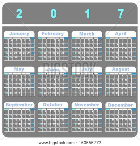 Cool demo 2017 calendar template stock vector