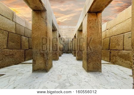 The valley temple of khafre, on the bottom of the causeway from the sphinx to the Great pyramid