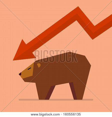 Bear with graph down trend. vector illustration