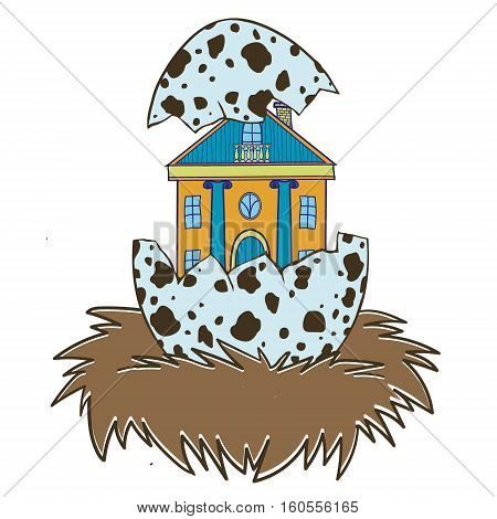 House in a bird's nest. Cute funny vector illustration. Suitable for web design and printing and as print on t-shirt