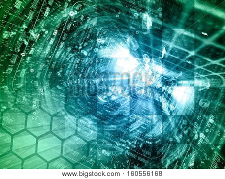 Computer background with tunnel and digits in greens and blues.