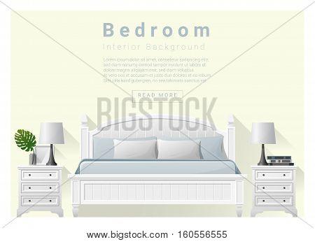 Modern bedroom background Interior design , vector , illustration