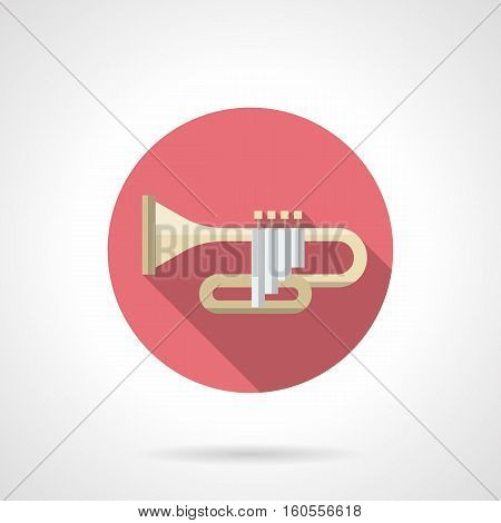 Symbol of trumpet with long shadow. Brass wind instruments. Orchestral concerts of classical music. Jazz band. Round pink flat design vector icon.