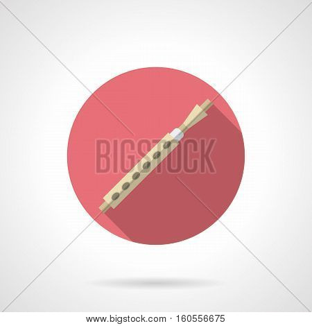 Symbol of block flute. Woodwind musical instruments. Soprano, oboe, clarinet, pipe and others. Round pink flat design vector icon.