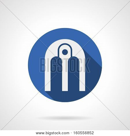 White silhouette of arched composition. Architecture arch with central pillar. Decoration elements for building, entrance, exterior facades and other. Round blue flat design vector icon.