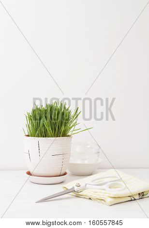 Wheat Grass Juice On Table And Lemon