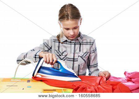 Girl With Iron Isolated