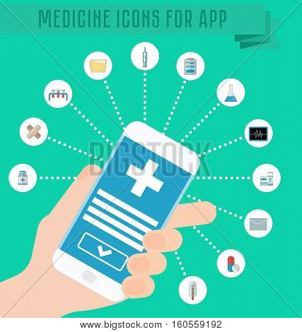 Smartphone in hand, medical application on the phone screen, infographics medical icons. Thermometer, tablets and pills, drug, cardiogram, syringe, folder and documents. Vector illustration flat style