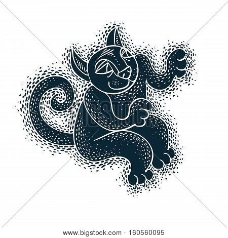 Funny Black Cat Illustration For Use In Graphic Design And As Mascot. Art Drawing Of Comic Creature,