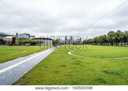 Amsterdam Netherlands - August 3 2016: Stedelijk Museum Amsterdam. It is the largest museum for modern and contemporary art and design in the Netherlands. The historic museum building has been completely renovated
