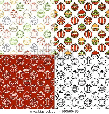 Vector set of Christmas seamless patterns. Bright and monochrome Christmas tree baubles. Doodles and cartoon hand-drawn boundless background.