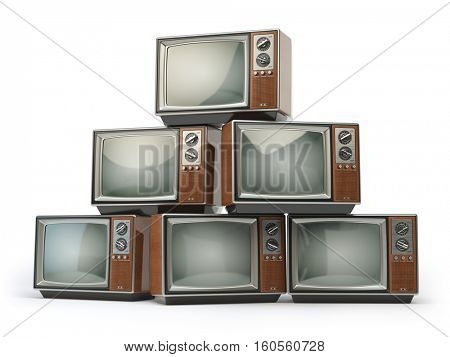 Heap of retro TV sets isolated on white background. Communication, media and television concept. 3d illustration