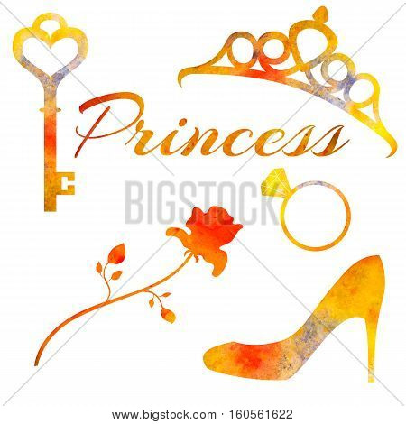 Set of watercolor elements princess. Rose diadem key wedding ring and shoe. coloured with blurs.