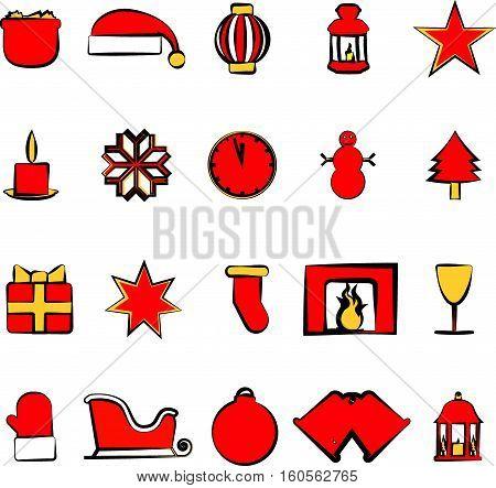 Icons Set With Christmas Paraphernalia On A White Background
