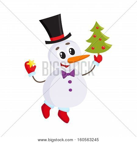Cute and funny little snowman decorating a Christmas tree, cartoon vector illustration isolated on white background. Funny snowman in cylinder hat with an Xmas tree, holiday season decoration element