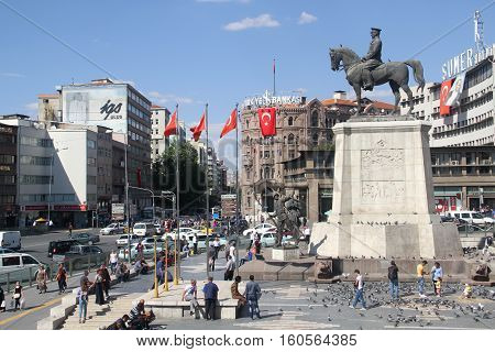 Ataturk monument in city center, Ulus square shown on MSEPTEMBER 16, 2016 in Ankara. Ulus is old city center of Ankara,Capital city of Turkey