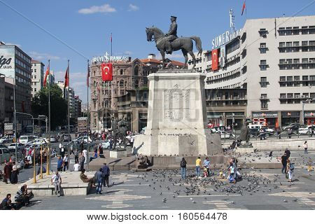 ANKARA, TURKEY - Ataturk monument in city center, Ulus square shown on SEPTEMBER 16, 2016 in Ankara. Ulus is old city center of Ankara,Capital city of Turkey