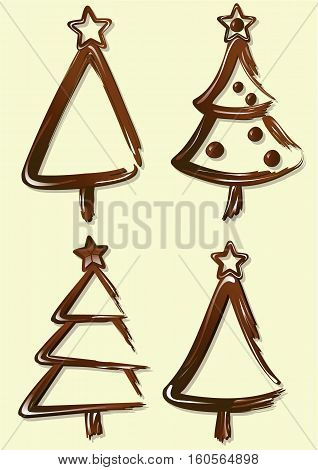 Sweet chocolate Christmas trees - vector illustration