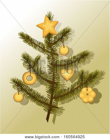 Christmas tree decorated with cakes - vector illustration